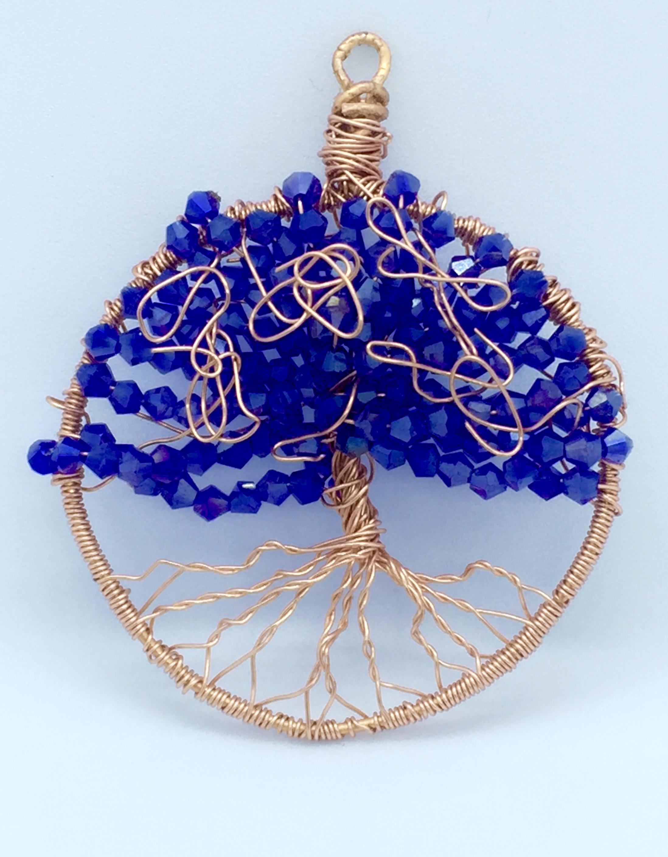 Tree of Life Pendant blue leaves