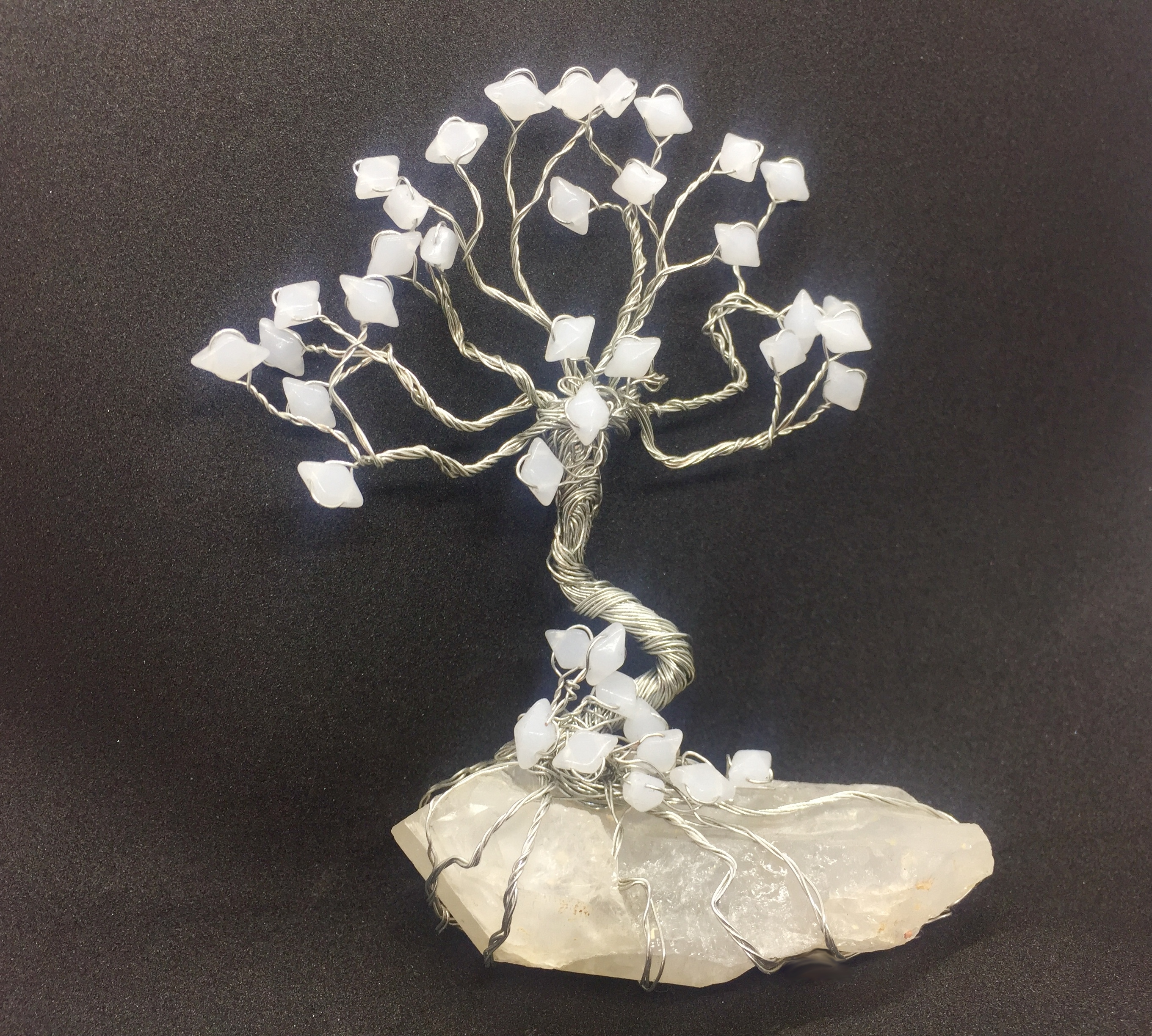Tree of Life on a Quarts Crystal and white beads leaves